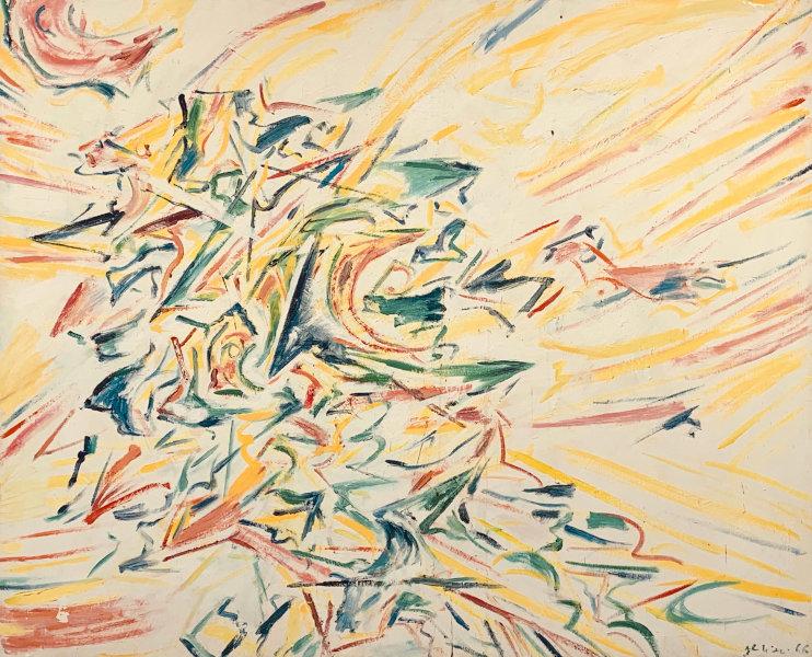 Claudio Olivieri, 1966, ST, olio su carta intelata, 140x180cm