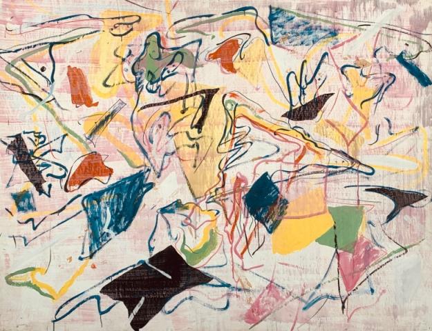 Claudio Olivieri, 1967, ST, tecnica mista su carta intelata, 137x180cm